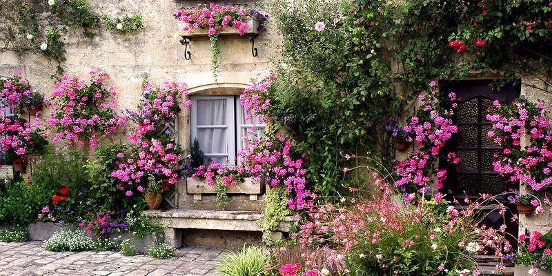 Tuinposter 39 bloementuin met bankje 39 teun 39 s tuinposters for Www bloem en tuin nl