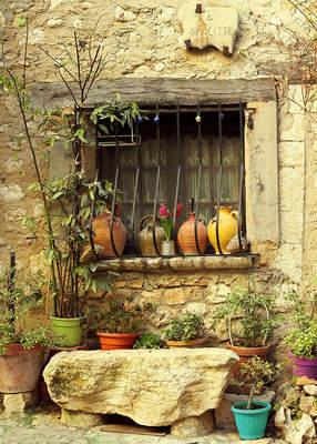 Tuinposter met een raam of deur teun 39 s tuinposters - Hek begroeide ...