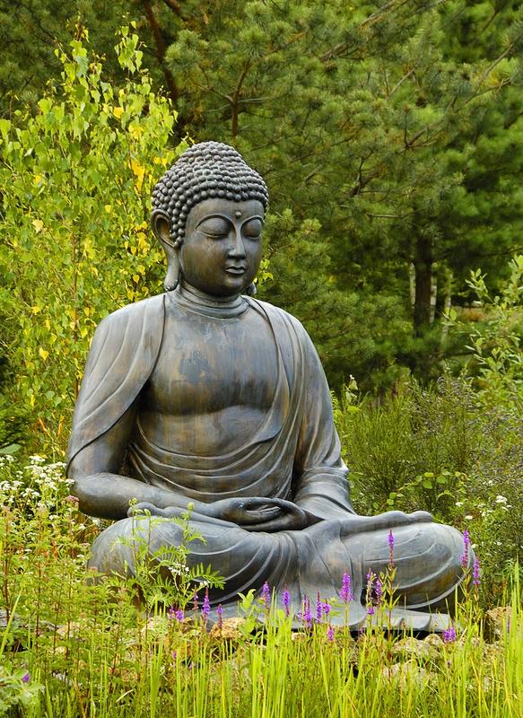 Boeddha Beelden Voor De Tuin.Tuinposter Boeddha Beeld In Lotushouding Teun S Tuinposters